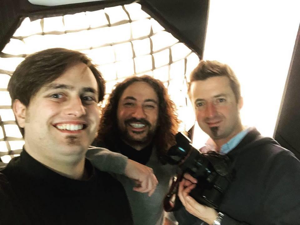 Loccisano D'Andrea e De Carolis durante le riprese dei video per il metodo base per chitarra battente