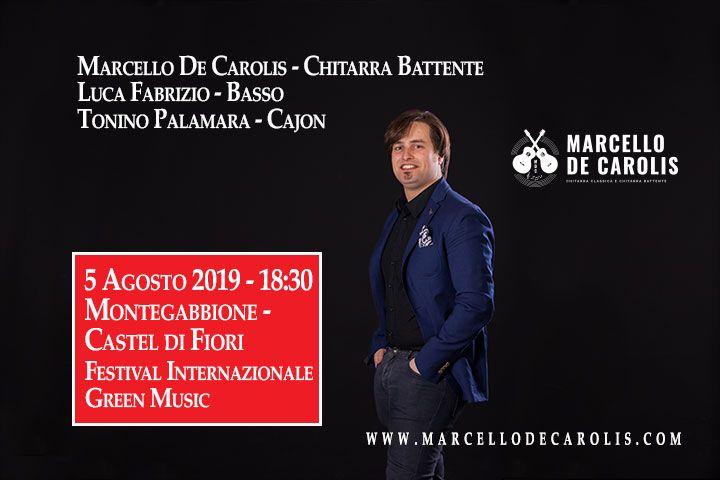 Concerto a Montegabbione del 5 agosto 2019 di Marcello De Carolis - Chitarra battente Luca Fabrizio - Basso Tonino Palamara - Cajon