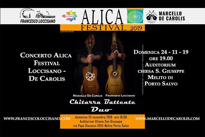 Concerto a Melito di Porto Salvo del 24 novembre in provincia di Reggio Calabria del duo Loccisano De Carolis per Alica Festival 2019