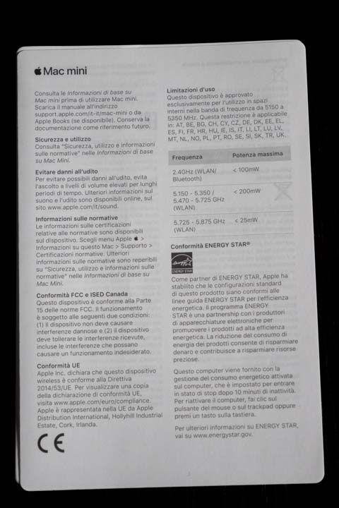 Manuale di istruzioni del Mac mini 2018 della Apple