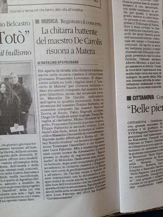 Ill quotidiano del sud parla del concerto di Matera composto da Angelo Gilardino ed inciso da Marcello De Carolis