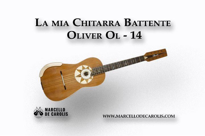 La chitarra battente Oliver OL-14 costruita da Sergio Pugliesi della Oliver Guitar Lab di Scilla per Marcello De Carolis