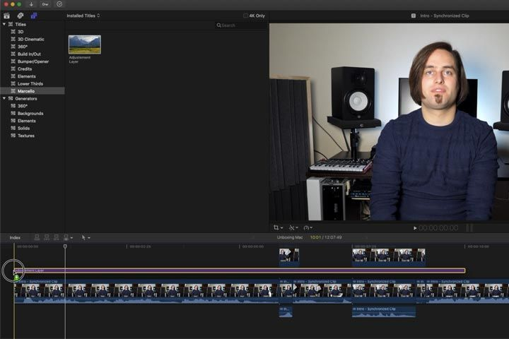 Inserire l'adjustment Layer nella timeline di Final Cut Pro x del Mac