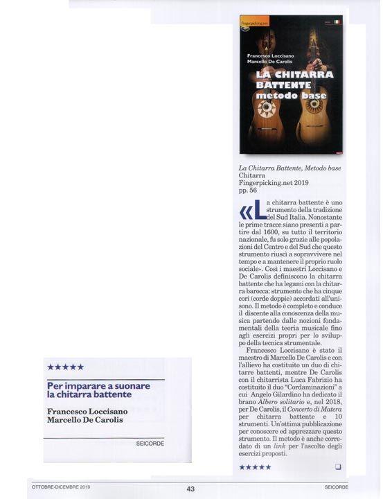 La recensione seicorde su la chitarra battente metodo base edito da fingerpicking.net e scritto da Marcello De Carolis e Francesco Loccisano