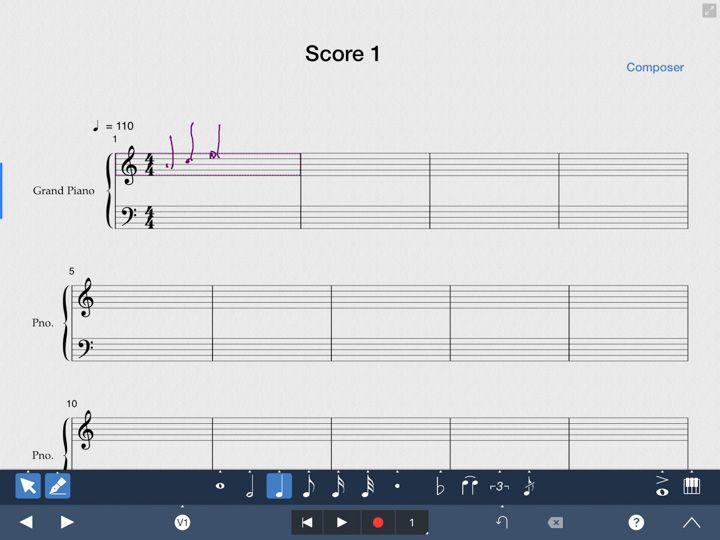 inserimento note musicali con scrittura a mano con symphony pro 5 su ipad