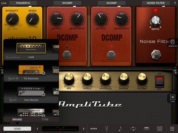 Scelta degli amplificatori in app amplitube