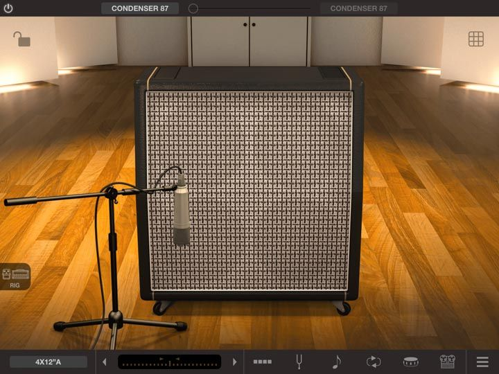 Cassa amplificatore virtuale in app iPad amplitube