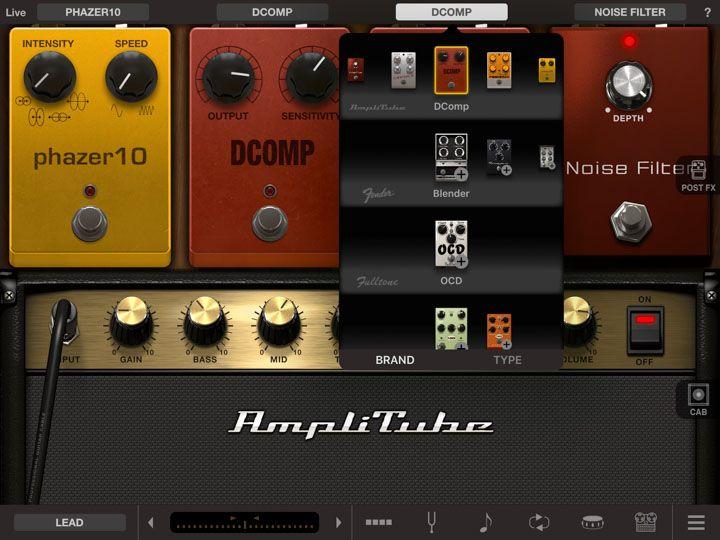 Scelta degli effetti per chitarra elettrica in app iPad amplitube