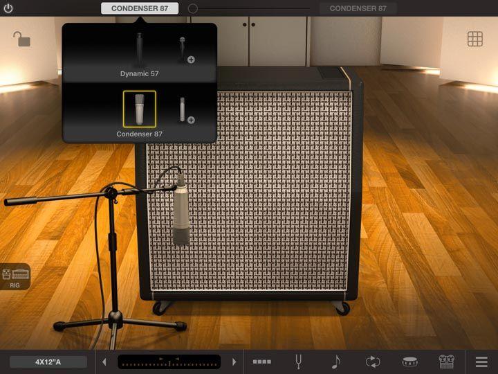 Scelta del microfono su cassa di amplificatore in app iPad amplitube