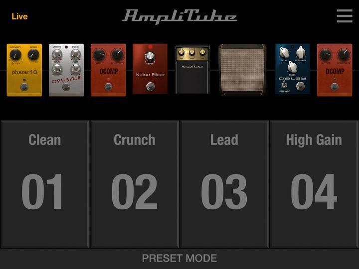 Amplitube app ipad scelta dei preset live per chitarra elettrica