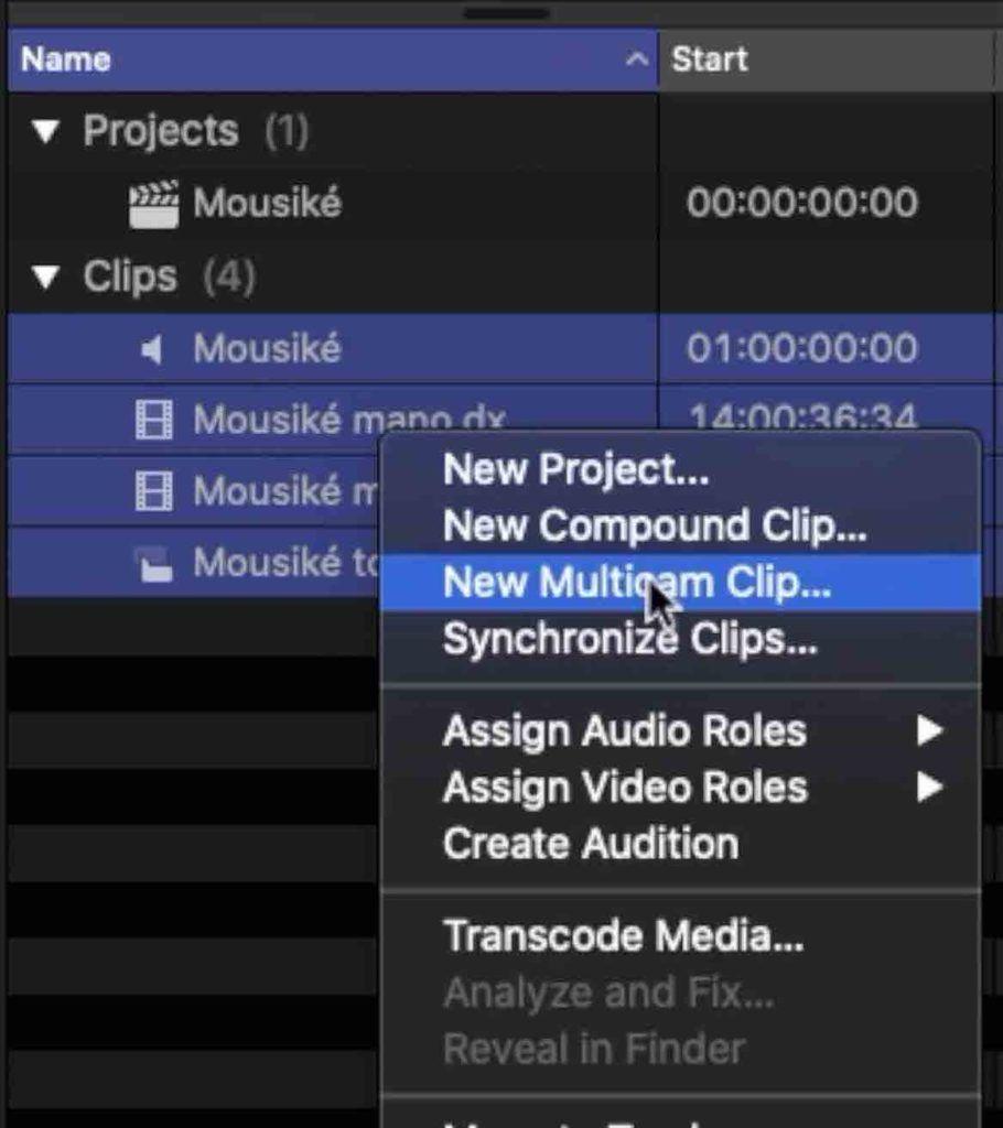 Creazione Multicam Final Cut Pro x