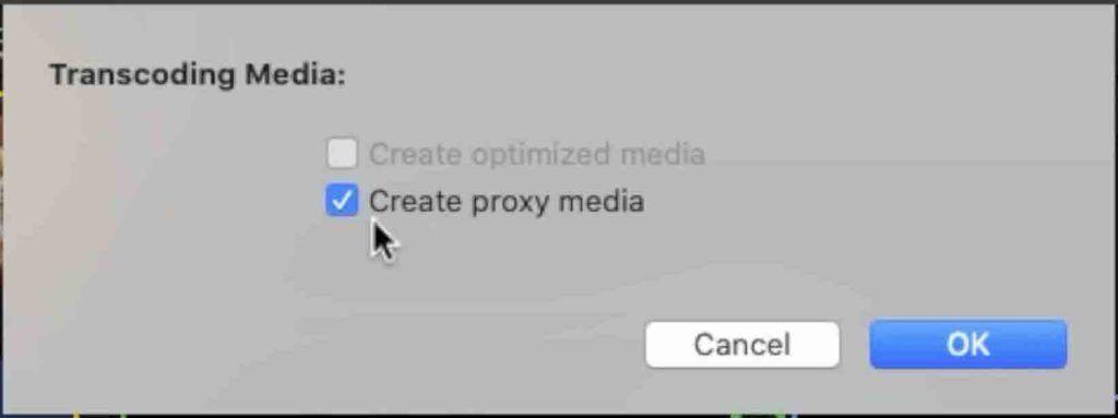 finestra creazione file proxy media Final Cut Pro x