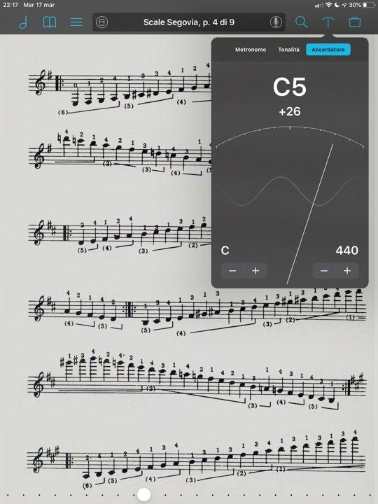 Accordatore di ForScore personalizzabile per frequenza tonalità e trasporto