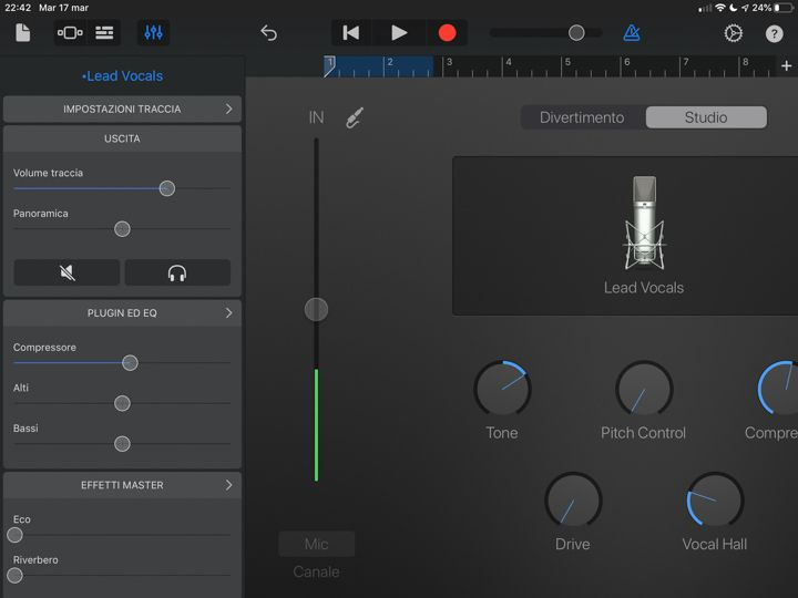 Plugin in garage band app ipad