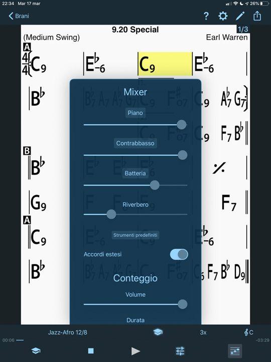 mixer in iReal Pro per scegliere il volume di piano basso e batteria