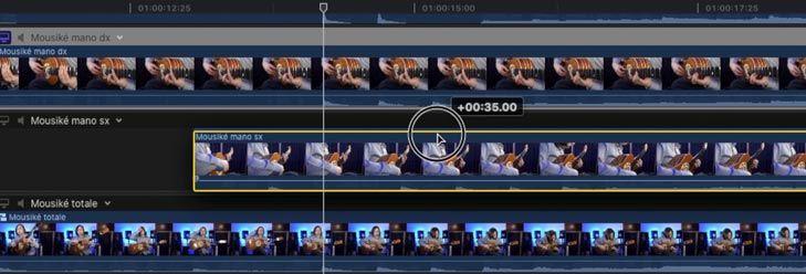 Spostare le clip per eventuale sincronizzazione