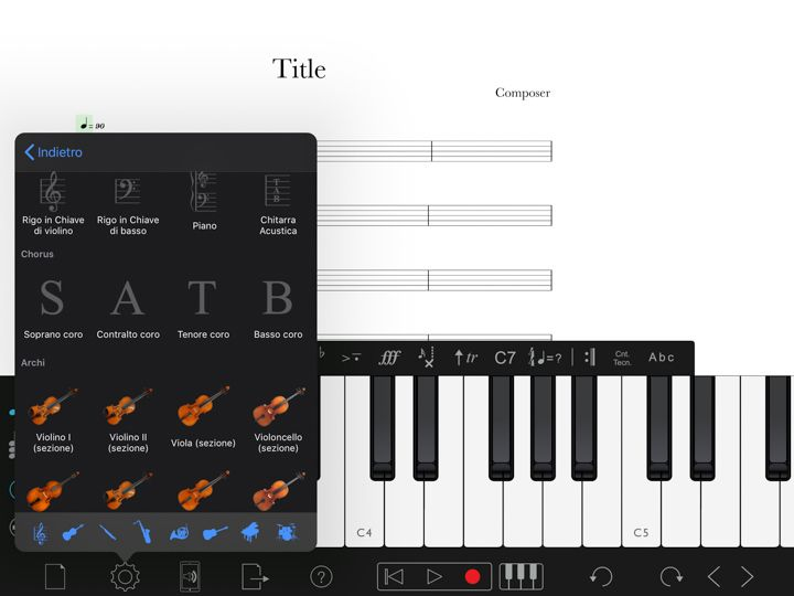 Strumenti musicali disponibili in Notion per comporre musica con ipad