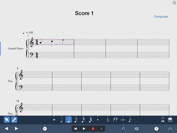 Symphony pro 5 trasforma le note musicali inserite a mano libera