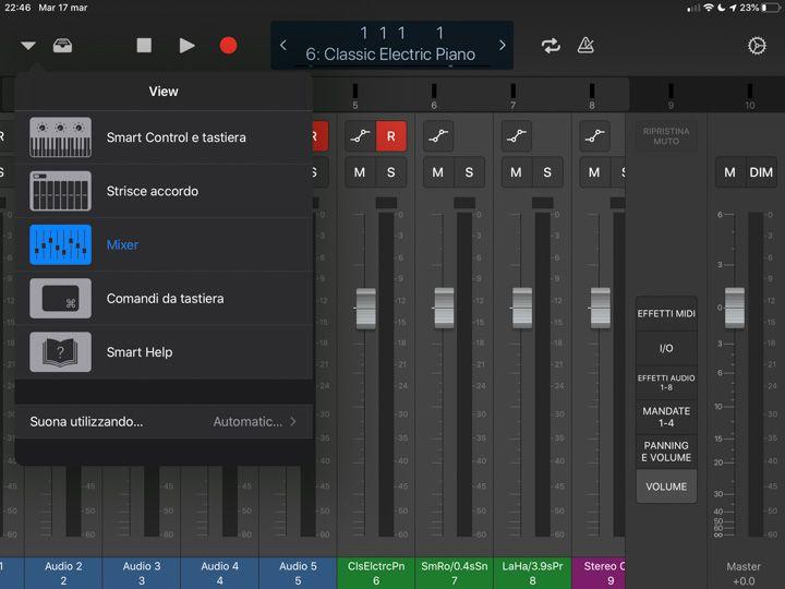 Scelta degli strumenti da visualizzare in logic remote per pilotare Logic Pro x sul mac