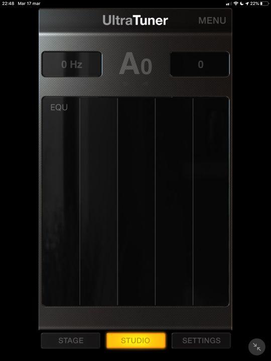 La visualizzazione studio di ultratuner app iPad accordatore