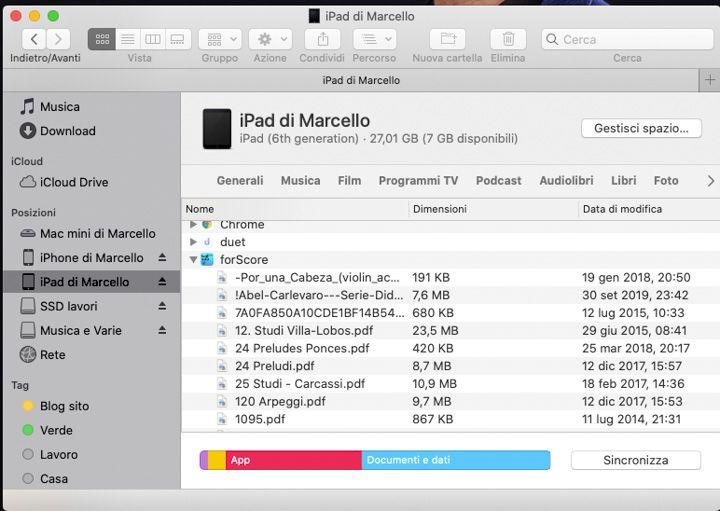 Importare brani su ForScore dal Mac