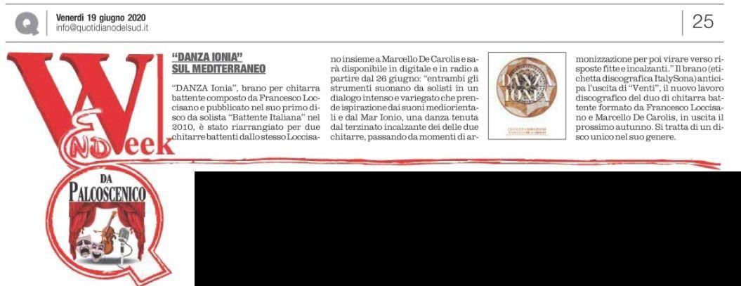 Articolo del quotidiano del sud sull'uscita di Danza Ionia per duo di chitarra battente Loccisano De Carolis