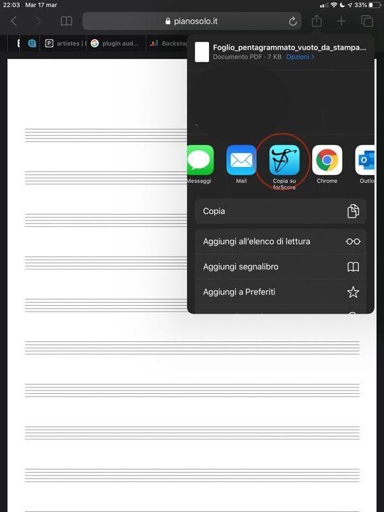 Mandare brani su ForScore da altre app
