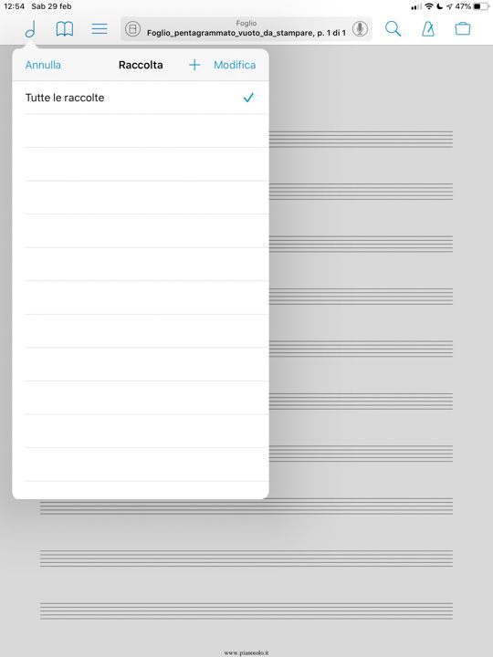 tutorial forscore visualizzare le raccolte di spartiti musicali