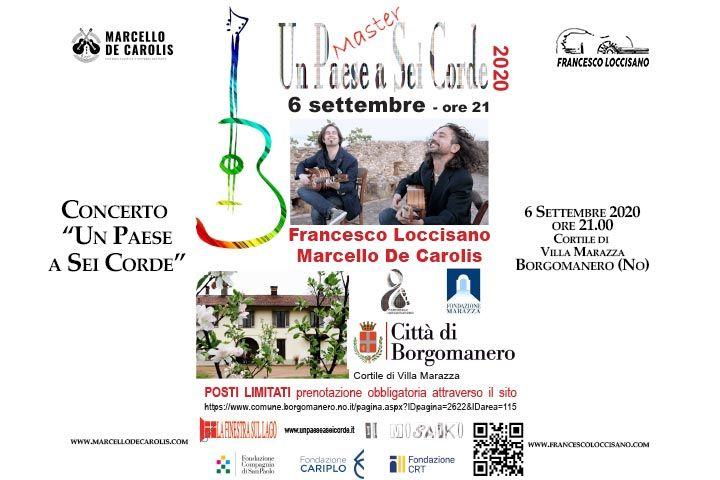 Concerto del duo Loccisano De Carolis a Borgomanero provincia di novara per il festival musicale un paese a sei corde