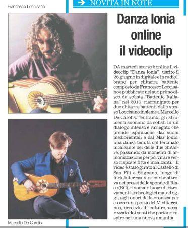 """Articolo su Quotidiano del sud del videoclip """"Danza Ionia"""" del duo di chitarra battente Loccisano - De Carolis"""