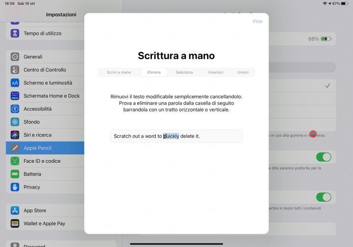 Cancellare parola utilizzando apple pencil