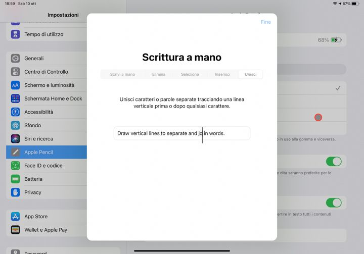 Unisci o dividi parole con apple pencil