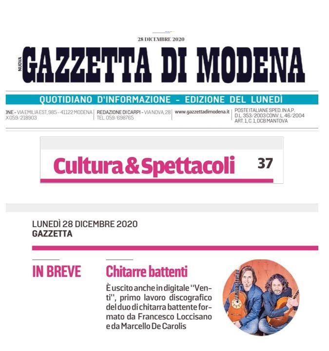 Loccisano De Carolis Venti su la gazzetta di Modena