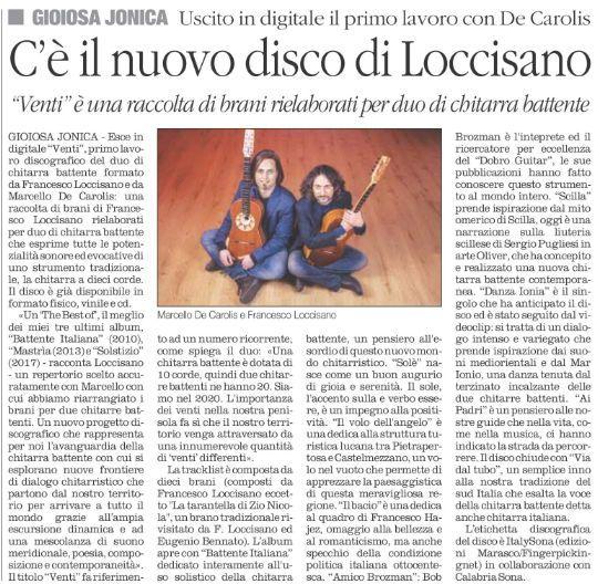 Loccisano De Carolis quotidiano del sud disco Venti