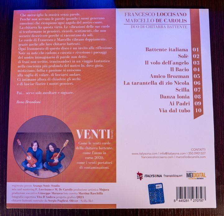 tracklist venti Loccisano De Carolis da vinile