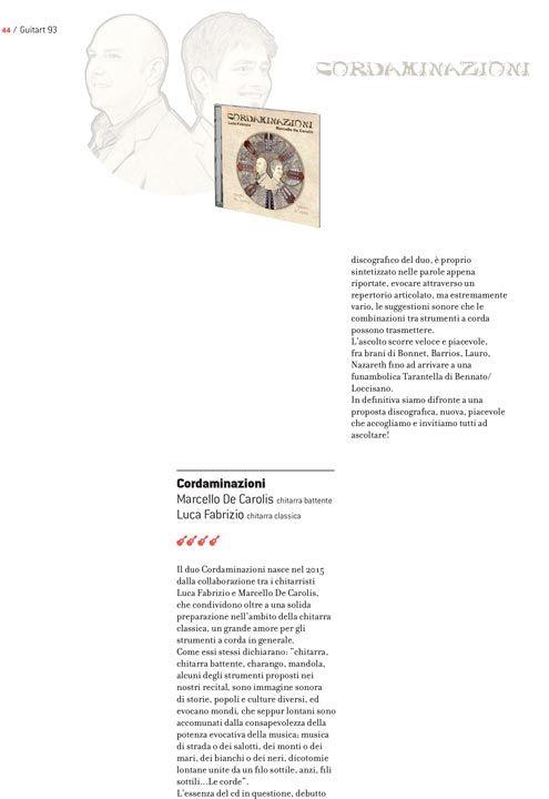 Recensione di Guitart sul disco Cordaminazioni di Marcello De Carolis e Luca Fabrizio