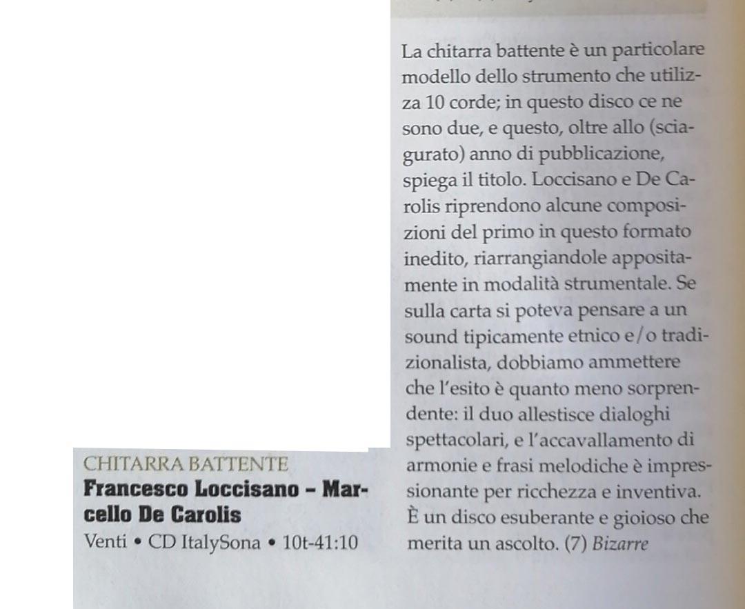 Recensione su Blow Up del disco venti per duo di chitarra battente di Francesco Loccisano e Marcello De Carolis