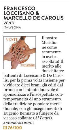 Recensione disco venti Loccisano De Carolis su il magazine il rumore