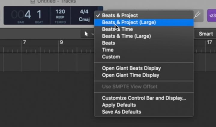 i diversi display lcd di Logic Pro x