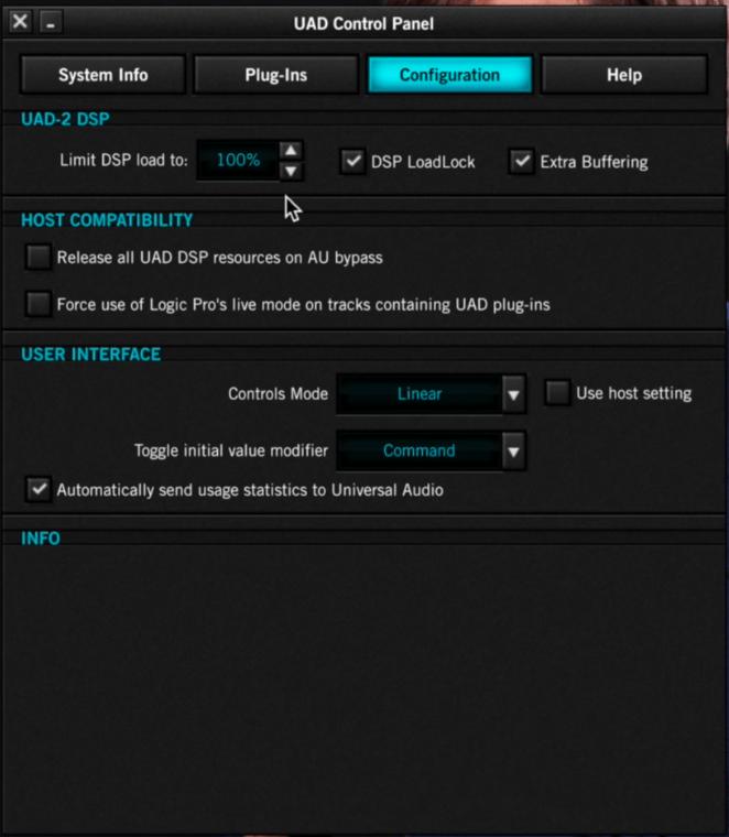 Configurazione UAD Control Panel