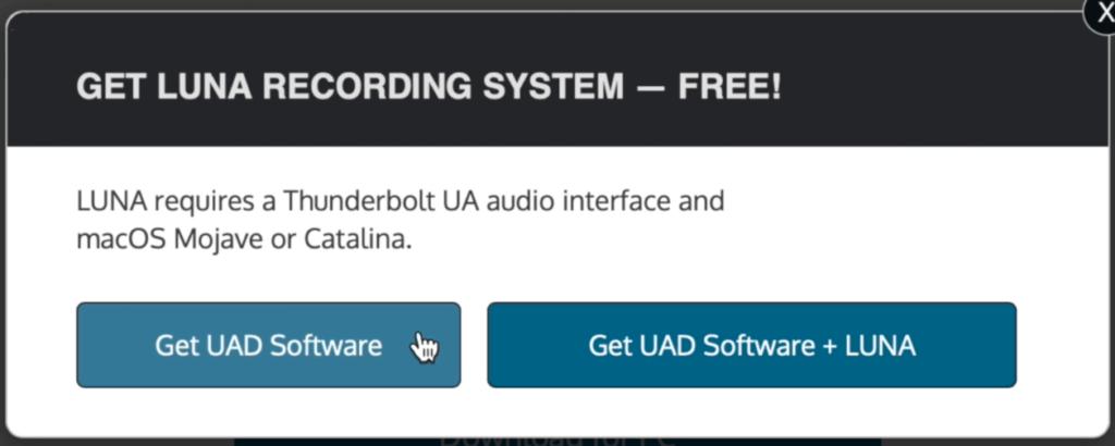 Download UAD Software + Luna