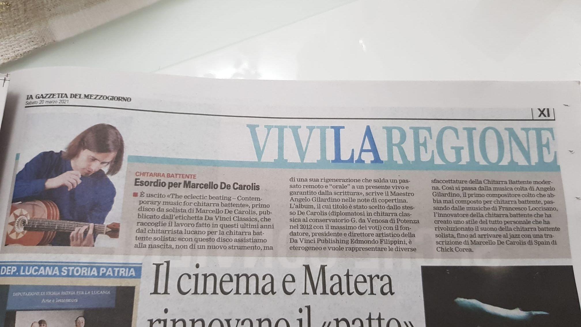 Articolo de La Gazzetta del mezzogiorno su the eclettico beating - contemporary music for chitarra battente di Marcello De Carolis