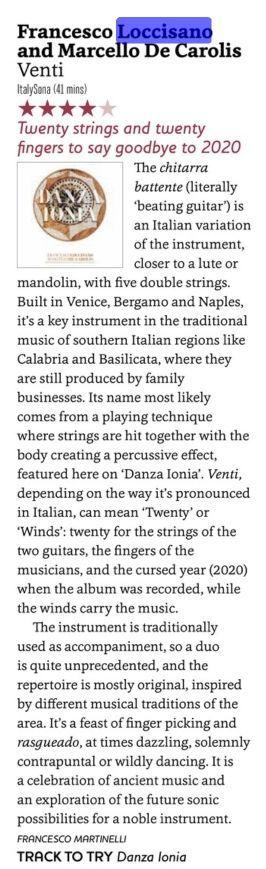 Recensione disco venti per duo di chitarra battente Marcello De Carolis e Francesco Loccisano