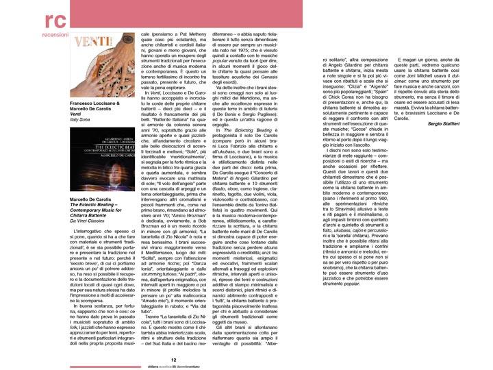 Recensione su chitarra acustica di Venti e the eclectic beating contemporary music for chitarra battente