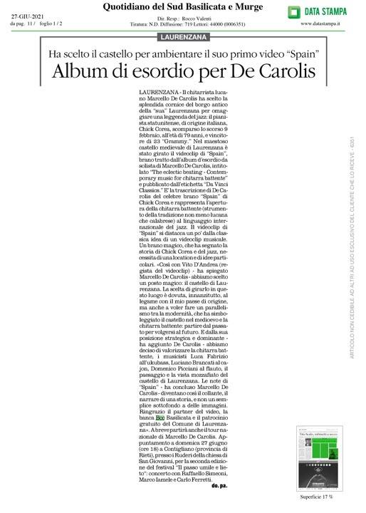 Quotidiano del sud Basilicata e Murge videoclip Spain Marcello De Carolis