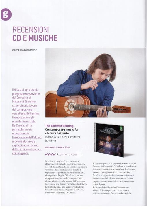 Recensione su GuitArt del disco di chitarra battente di Marcello De Carolis The Eclectic Beating Contemporary music for chitarra battente