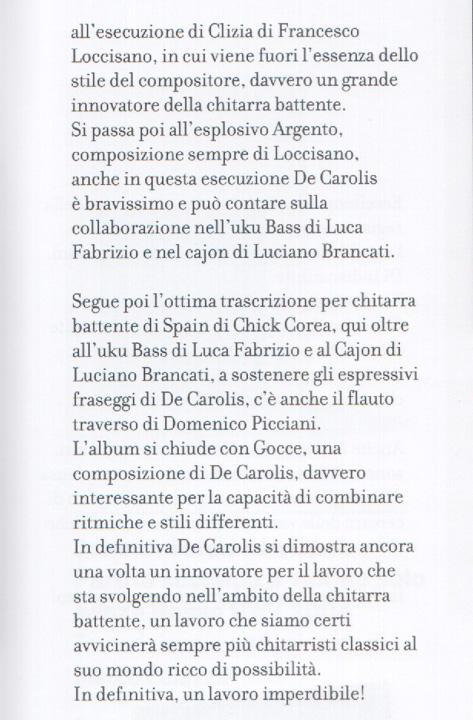 Recensione su GuitArt del disco di chitarra battente di Marcello De Carolis The Eclectic Beating Contemporary music for chitarra battente edito da da vinci classics