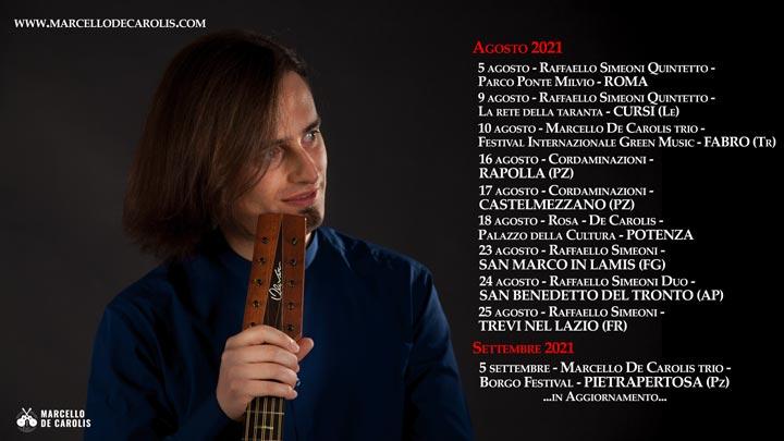 Concerti estivi 2021 di chitarra battente e chitarra classica di Marcello De Carolis