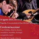 Cordaminazioni di Luca Fabrizio e Marcello De Carolis in concerto a Rapolla con chitarra classica chitarra battente mandolino mandola quattro e charango